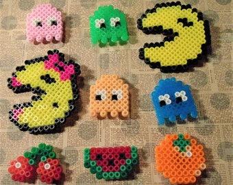 Set of 9 Pacman and fruit perler magnets great for ESL Rewards