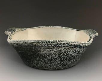 Cobbler Pan - Baking Dish - Dark Cobalt Soda Fired Stoneware Pottery - Ron Philbeck