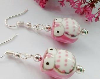 Pink Owl Earrings, Owl Jewellery, Gift For Teen, Cute Bird Earrings, Fun Owl Earrings, Kawaii Jewelry, Gift For Friend, Animal Lover Gift