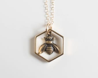 Bee Necklace - Bee Charm - Hexagon Charm Necklace - Honeybee Charm - Bee Jewelry - Sacred Geometry - Geometric Necklace - Modern - Simple
