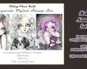 Intro Price - Hello Natural Set 3 - Greyscale PRINTABLE Instant Download Digital Stamp /  Dog Cat Owl Fairy Girl Art by Ching-Chou Kuik