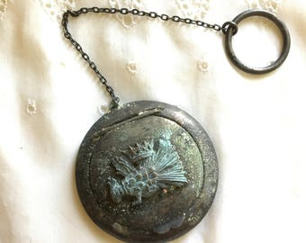 Antique Chatelaine Compact Mirror with Crowned Phoenix