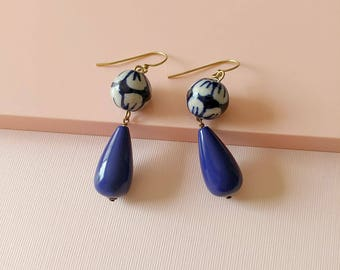 Blue and White Earrings - Vintage Style Jewelry - Drop Earrings - Resort - Mykonos Earrings (SD0996)
