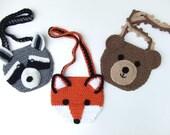 Crochet Pattern, Animal Crochet Purses, Raccoon, Bear, Fox, PDF Digital Download
