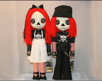 Hand Stitched Raggedy Ann & Andy Inspired Rag Dolls Creepy Gothic Folk Art By Jodi Cain Tattered Rags