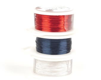 Memorial Day Craft Wire, Nautical Wire,Wire Crochet Supply, 28 Gauge Wire, Non tarnish Jewelry wire,Red Blue White Wires, Parawire, Copper