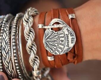 Enjoy The Journey Modern Boho Bracelet, Boho Jewelry, Wanderlust Bracelet, Compass Jewelry Compass Bracelet Wrap, Silver Boho Wrap Bracelet