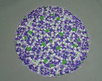 Vintage Round Hankie 1950s Purple Floral Violets