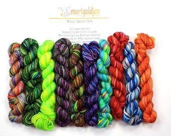 MarigoldJen Sampler Mini Skein set--hand dyed sock yarn, merino and nylon, (200-220yds/50gm)