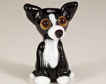 Black and White Chihuhua Mix Lampwork Dog Bead
