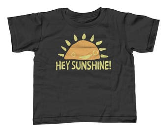 Kids Summer Shirt - Hey Sunshine Toddler Tee - Childrens Springtime Clothing - Happy Kids - Positive Attitude - Smiling Sun Tshirt