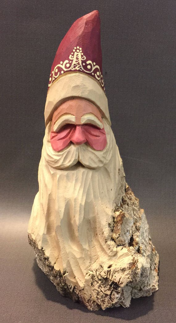 HAND CARVED original rustic Santa bust from 100 year old Cottonwood Bark.