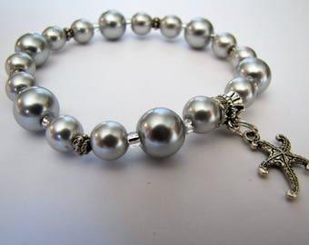 Pearl Stretch Bracelet, Silver Bracelet, Starfish Charm Bracelet, Beaded bracelet, fits 6  1/2 to 7 inch wrist, Body Jewelry, #1236