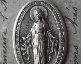 ON SALE Large Burnished Oval Italian Miraculous Medal Of The Immaculate Conception 1830 Blessed Virgin Mary Mother Of God
