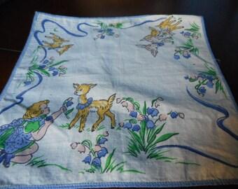 VINTAGE Little Blue Girl with Deer Printed Childrens Hankie Handkerchief  2