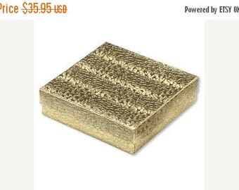 Summer Sale 100 Gold Foil Cotton Filled Jewelry Storage Presentation Boxes 3.5X3.5X1 Inch Size
