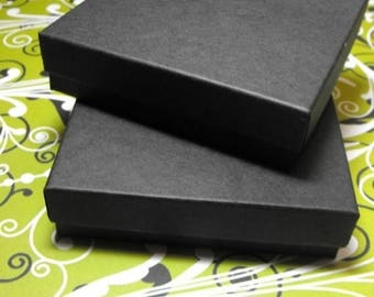 STOREWIDE SALE 100 Pack 3.5 X 3.5 X 1 Inch Matte Black Size Cotton Filled Jewelry Presentation Gift Boxes