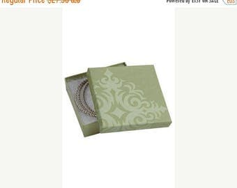 New Years Sale 50 Pack of 3.5X3.5X1 Inch Size High Quality Sage Damask Cotton Filled Jewelry Presentation Boxes