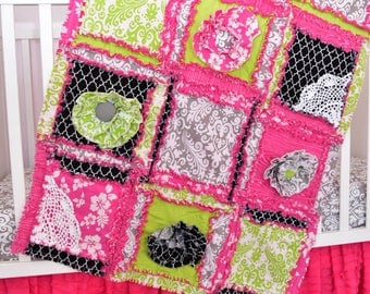 Bohemian Quilt - Hot Pink / Lime Green / Black / Gray - Crib Comforter Nursery Decor - Nursery Quilt- Rag Blankets - Rag Quilt Girls Bedroom