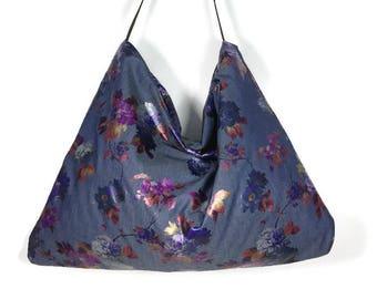 FREE SHIPPING Blue Denim Handbag Blue Denim Burgundy Floral Purse Denim Shoulder Bag Floral Foil Hobo Bag Denim Purses Denim Metallic Purse
