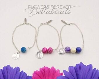 Memorial Bracelet, Flower Petal Jewelry, Memorial Gift, Memorial Bead, Dried Flower Jewelry, In Memory of, Willow Initial Bracelet, One Bead