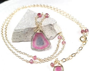 Summer SALE Watermelon Tourmaline necklace, Pink Tourmaline, 14k gold filled necklace, October Birthstone, Gift for Her