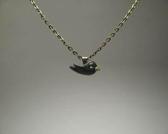 Small Blackbird Necklace - Polymer Clay Jewelry - Crow Jewelry