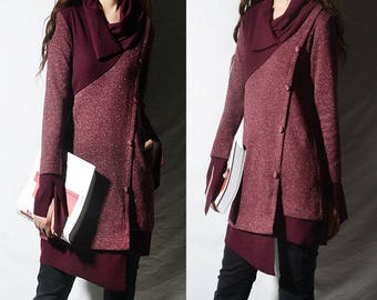 SALE the reader asymmetrical knit tunic dress / deconstructed knit tunic /  patchwork knit dress / burgundy tunic (Y1673u)