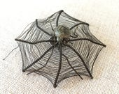 Antique metal spider and woven spider web