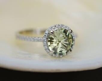 Green sapphire engagement ring. White Gold Engagement ring. Green Sapphire ring. 1.68ct round sapphire 14k White Gold diamond ring.