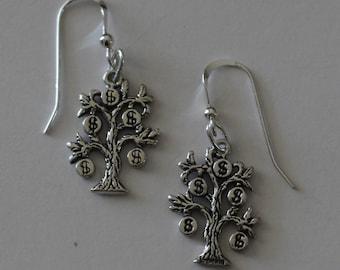 Sterling Silver 3D MONEY TREE Earrings - Profession, Stock Market, Accountant, Banker