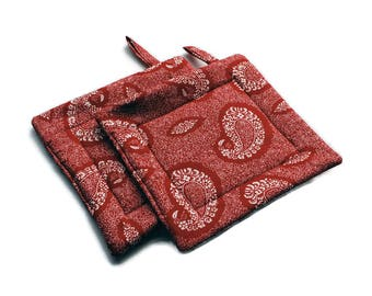 Quilted Pot Holders set of 2 Red Paisley Hot Pads