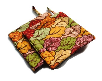 Quilted Pot Holders set of 2 Abstract Trees Gold Red Orange Green Brown Hot Pads