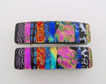 VerySmall Dichroic glass hair barrette