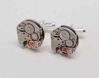 Steampunk cuff links with vintage watches. Steampunk jewelry.