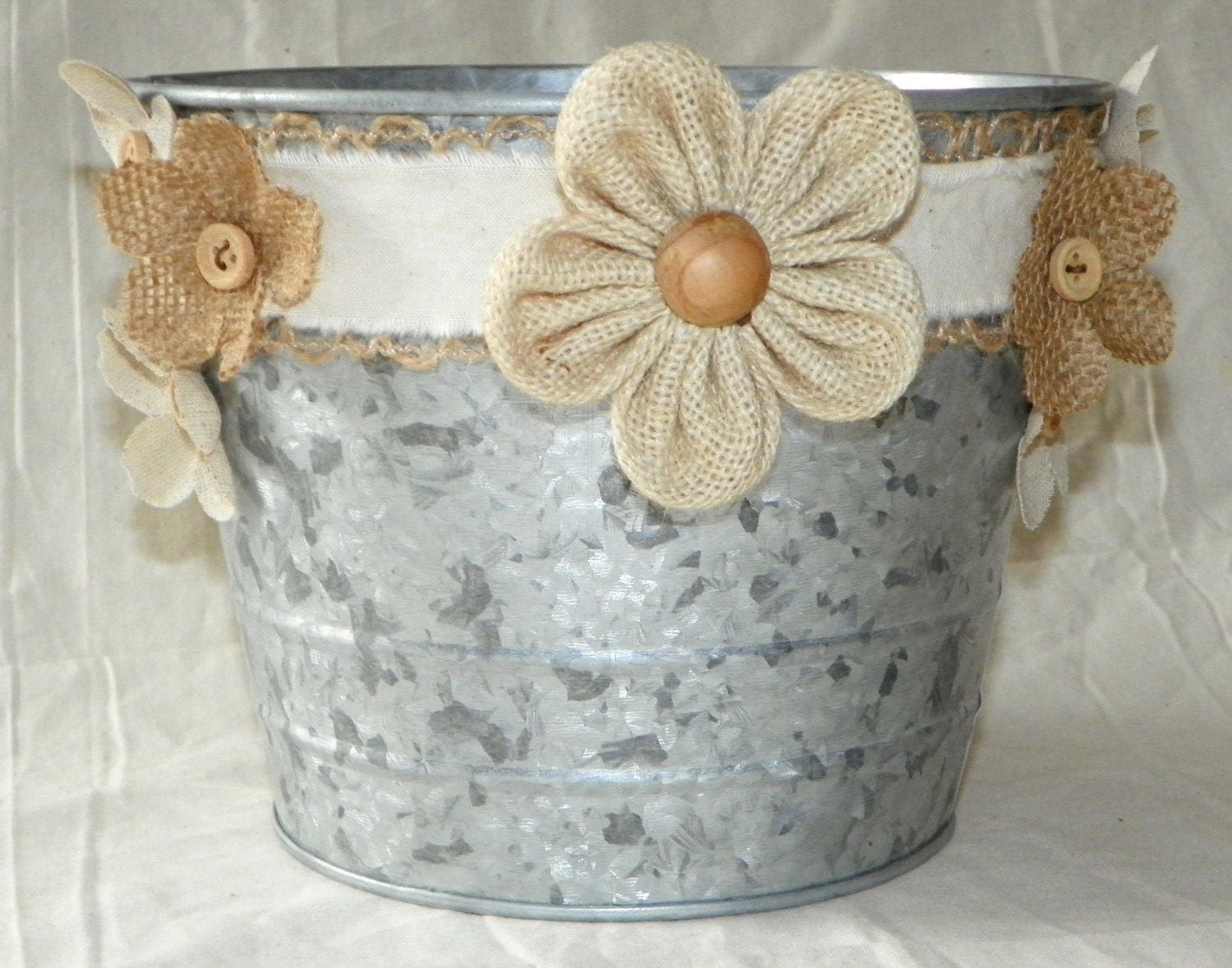 Rustic Wedding 6 Inch Metal Bucket in Grey Galvanized with Wood ...