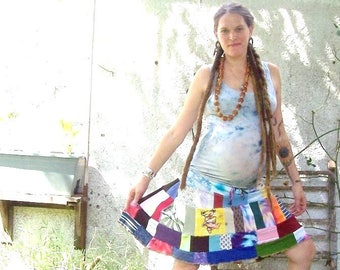 Owsley ~ Grateful Dead Dancing Bear ~ Sunshine ~ 100% Ecofriendly Gypsy Rainbow Patchwork Hippie Adjustable Drawstring Skirt ~ S M L XL XXL