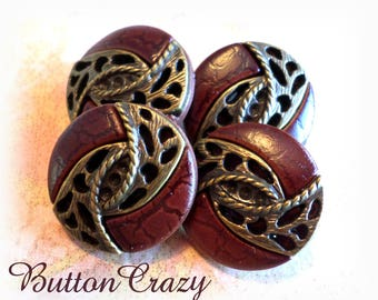 4 Fancy Brown and Gold VINTAGE Buttons 3/4 Inch