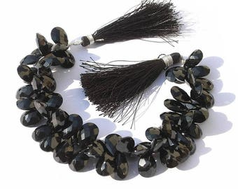 1/2 Strand AAA Black Spinel Faceted Pear Briolettes Size 12x8mm Approx / Best for Matching Pairs