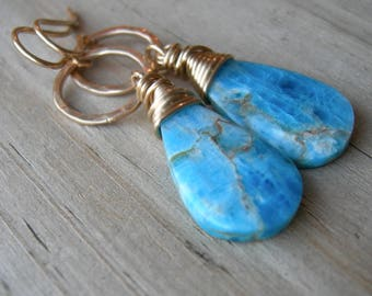 Natural Blue Apatite Wire Wrapped Yellow Gold Circle Earrings