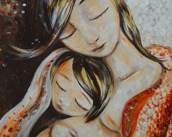 Tiny Moment - Archival signed motherhood print from an acrylic painting by Katie m. Berggren