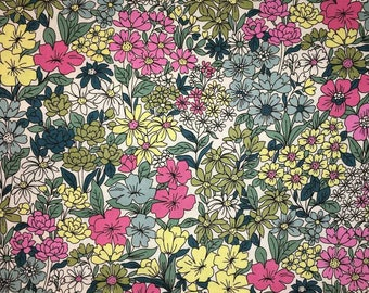 Flowers Plants Botanical Blossoms Pink Blue Green Handcrafted Valance a1/23