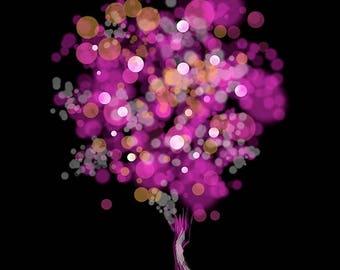 50% Off Summer Sale - Modern Tree Art - Strawberry Bubblegum Tree (fuchsia and black)- 8x10 Print