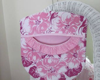Clothes Pin Peg Bag - Pink Geraniums Rescued Vintage Tablecloth, Pink Gingham & Wood Hanger - Shabby Prairie Cottage