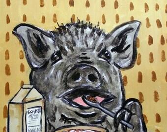 20 % off storewide Pot Belly Pig Eating Cereal Art Print  JSCHMETZ modern abstract folk pop art gift