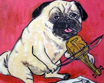 20 % off storewide Pug Playing the Violin Dog Art Tile Coaster