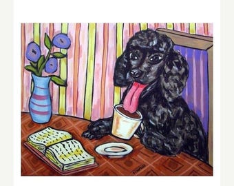 20 % off storewide Poodle at the Coffee Shop Cafe Dog Art PRINT 11x14 JSCHMETZ modern abstract folk pop art american ART gift