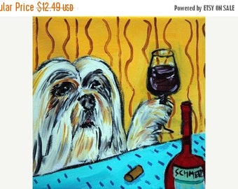 20 % off storewide Lhasa Apso at the WIne Bar Dog Art Tile Coaster Gift