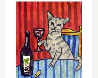20% off storewide Grey Cat at the Wine Bar making a Toast Art Print