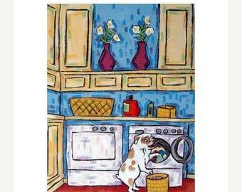 20% off storewide 11x14 PRINT- bulldog dog art, laundry room - dog / bulldog art / bulldg print / dog art / dog print